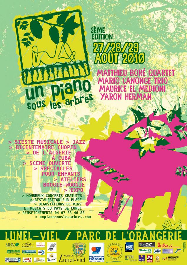 festival un piano sous les arbres:conception d'affiches et de dépliants utilisants le logo créé pour la troisième édition du festival.