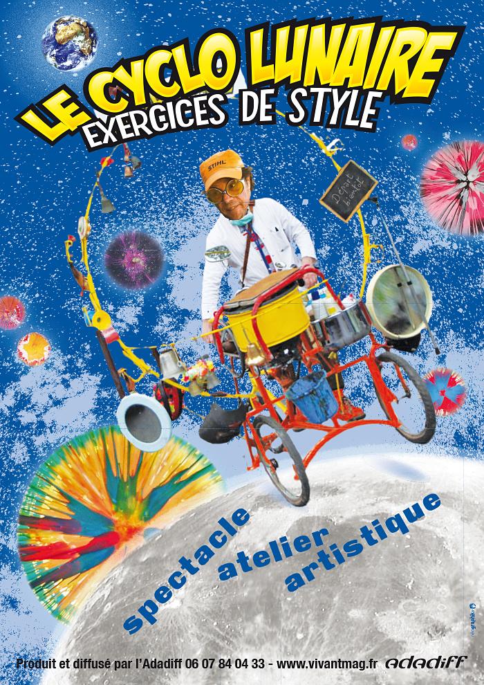 e cyclo lunaire - conception d'une affiche promotionnelle utilisant le logo existant destinée aux jeunes et moins jeunes publics des spectacles de rues.